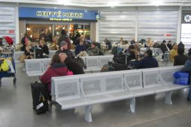 Bus Terminal at Heathrow airport (UK). VACANTE bench.