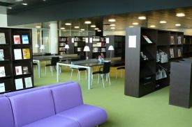 Greffes Library, Dijon (France). JAKIN shelving and table system.