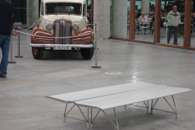 Bus station in Pamplona (Spain). AERO aluminium bench.