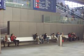 Railway Station in Basel (Switzerland). AERO Aluminium bench