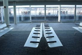 Pier 79, New York (USA). AERO aluminium bench.