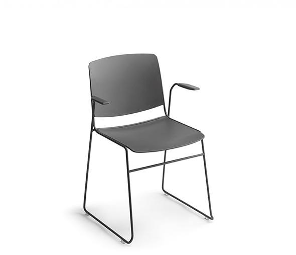 MASS Chair with Armrests, stackable up to 40 units