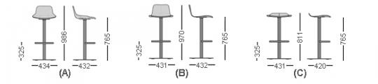 SET Stool central leg, seat 76 cm.