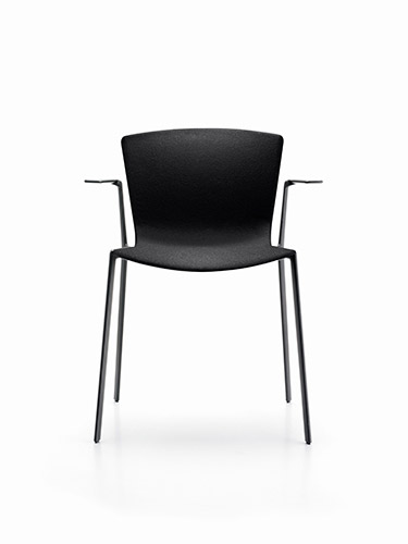 SLAM aluminium chair with armrests and upholstered