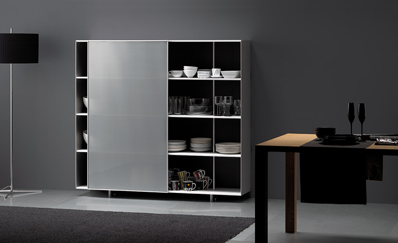 ZUMM shelving unit with sliding door on environment