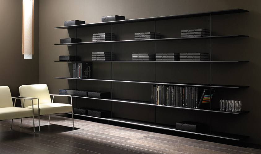 ZUMM shelving system with 6 shelves at a room