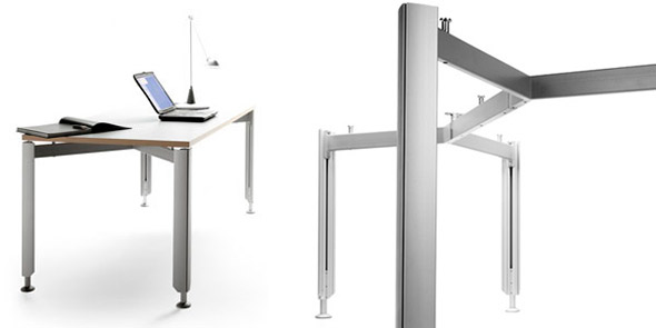 Mesa hanka con estructura mesas modulares sellex - Estructuras para mesas ...